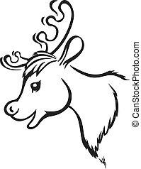 Muzzle reindeer - Contour image of cartoon muzzle reindeer
