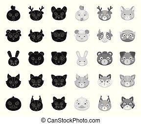Muzzles of animals black. mono icons in set collection for design. Wild and domestic animals vector symbol stock web illustration.