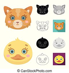 Muzzles of animals cartoon, black, flat, monochrome, outline icons in set collection for design. Wild and domestic animals vector symbol stock web illustration.