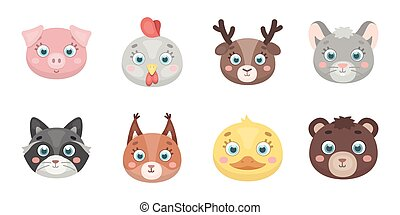 Muzzles of animals icons in set collection for design. Wild and domestic animals vector symbol stock web illustration.
