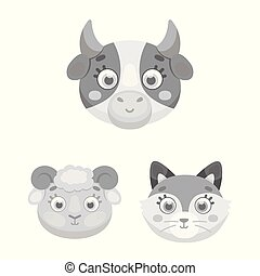 Muzzles of animals monochrome icons in set collection for design. Wild and domestic animals vector symbol stock web illustration.