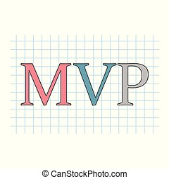 MVP (minimum viable product) acronym on checkered paper sheet- vector illustration