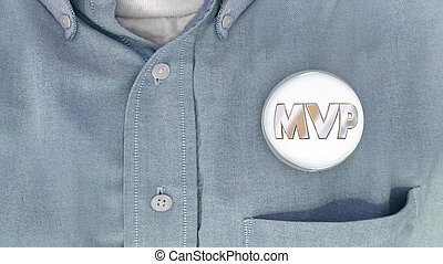 MVP Most Valuable Player Person Button Pin Shirt 3d ...