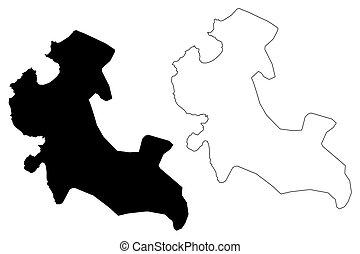 Mwanza City (United Republic of Tanzania, Mwanza Region) map vector illustration, scribble sketch City of Nyanza map
