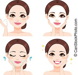 myć, kobieta, kroki, twarz