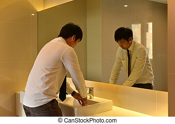 myć, ubikacja, osoba, asian obsadzają, siła robocza, łazienka, luksus