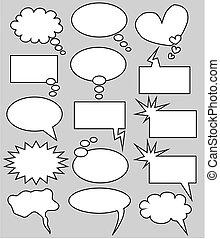 myśl, bańki, mowa