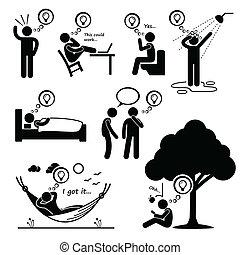 myśl, cliparts, człowiek, idea, nowy