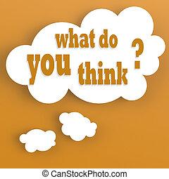 myśl, co, bańka, ty, myśleć