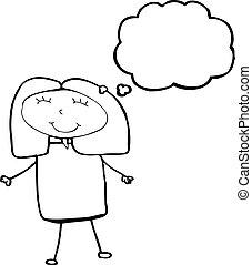 myśl, kobieta, bańka, rysunek, dziecięcy
