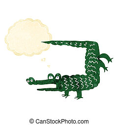 myśl, krokodyl, bańka, rysunek