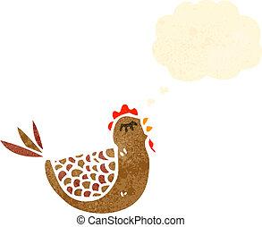 myśl, kura, bańka, rysunek