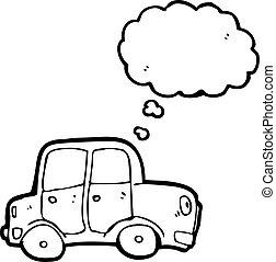 myśl, wóz, bańka, rysunek