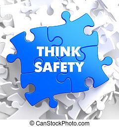 myśleć, bezpieczeństwo, na, błękitny, puzzle.