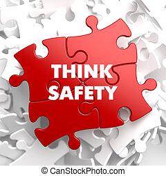 myśleć, bezpieczeństwo, na, czerwony, puzzle.