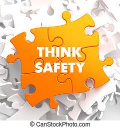 myśleć, bezpieczeństwo, na, pomarańcza, puzzle.