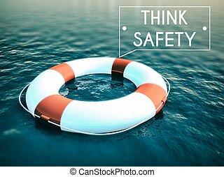 myśleć, bezpieczeństwo, znak, lifebuoy, szorstki, woda, fale