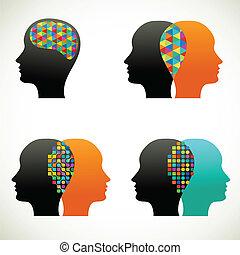 myśleć, ludzie, komunikować, rozmowa