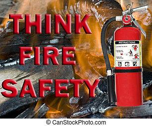 myśleć, ogień bezpieczeństwo, znak
