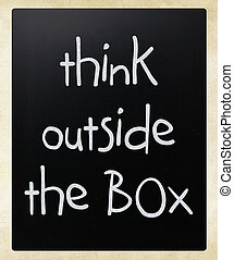 myśleć, zewnątrz, -, boks, pojęcie