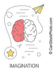 myślenie, concept., twórczość, idea, twórczy, wyobraźnia
