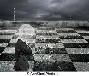 myślenie, człowiek, z, lampa, głowa i, podbródek w ręce
