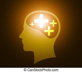 myślenie, dodatni, głowa, ludzki