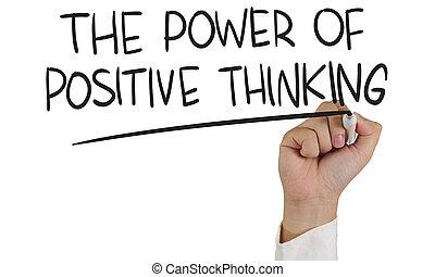 myślenie, dodatni, moc