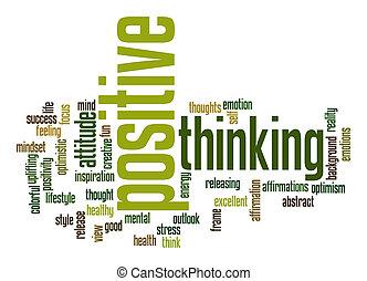 myślenie, dodatni, słowo, chmura