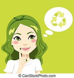 myślenie, dziewczyna, zielony