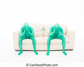myślenie, faceless, mężczyźni, zielony