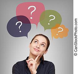 myślenie, handlowa kobieta, z, dużo, pytania, w, bańki, nad