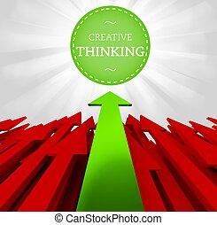 myślenie, indywidualność, concept., twórczy