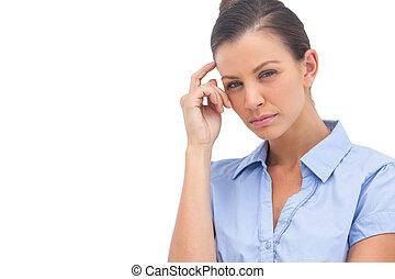 myślenie, kobieta interesu, z, ręka na formują główki