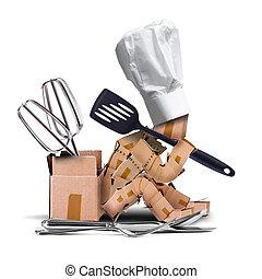 myślenie, litera, mistrz kucharski, siedział, narzędzia, kuchnia