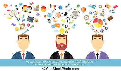 myślenie, pojęcia, biznesmeni, handlowy, natchnienie