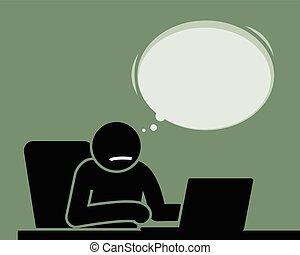 myślenie, something., laptop, człowiek, używając
