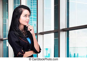 myślenie, uśmiechnięta kobieta, asian handlowy