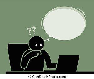 myślenie, zażenowany, screen., oglądanie telewizji, komputer, czuły, człowiek