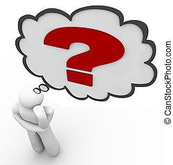 myślenie, znak zapytania, myśl, myśliciel, odpowiedź, bańka