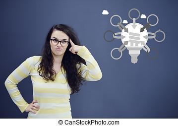 myśli kobieta, z, idea, w, bańka, nad, przeglądnięcie do góry, odizolowany, na białym, tło