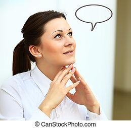 myśli kobieta, z, idea, w, opróżniać, bańka, przeglądnięcie do góry, z palcami, na, twarz
