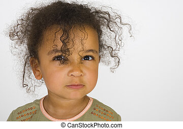 My Angry Face - A beautiful mixed race girl making an angry...