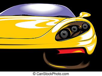 (my, automobile, giallo, scuro, desgin), sport, originale