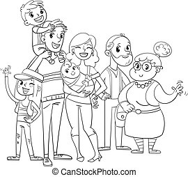 My big family posing together. Coloring book