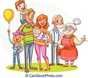 My big family together. Funny cartoon character