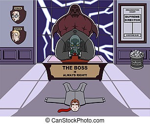 My boss is a monster - Humorous illustration about a...
