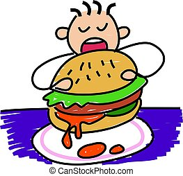 my burger - little boy eating a giant burger - toddler art...