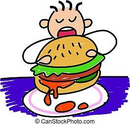 my burger - little boy eating a giant burger - toddler art...
