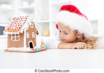My christmas gingerbread cookie house - little girl in awe ...